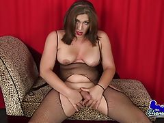Watch this hot tgirl stroking her hard cock and showing off that ass!