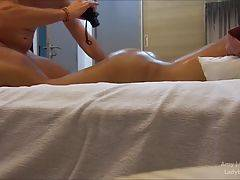 Amy loves seeing the stud, and the masseuse takes off his underwear at the start of the massage. Amy loves big cocks and the guys cock is impressive. Amy`s ass is oiled up and darling hole exposed.