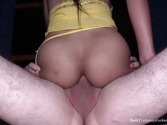 Quiz heads to bed and devours the POV`s dick. Deep throating is Quiz`s specialty, and after making the cock wet with her mouth she`s ready for a scalding bareback session. Both cocks rub together and Quiz`s snug ass-pussy is filled with dick. Nice views a