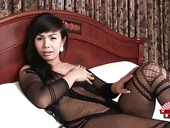 Horny Baitoey is a sexy ladyboy with a hot body, natural hormone tits, a sexy ass and a delicious cock! Watch this hot transgirl stroking her hard cock!