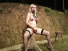 We can tell Adryela is very happy with her stunning physique because she can`t stop touching herself in this solo video. After removing that enticing lingerie she gropes her breasts, her ass and eventually that thick tool between her legs. She knows exact