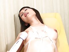 With soft smooth skin and a tight shaved tgirl pussy, Sayuri has the body of an incredible beauty! Watch this sexy and hot post op tgirl uses the magic wand on her pussy and she enjoys it with pleasure.