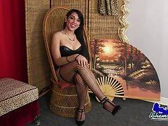 Bebe Temptation is a stunning tgirl with a sexy soft body, big boobs, a juicy bubble butt and a delicious uncut cock! Watch this beautiful Grooby girl stroking her hard cock for you!