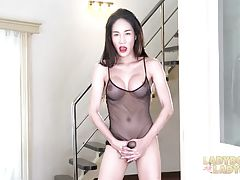 Looks like Alice just can`t wait for a cock to come and make her happy in every naughtiest way she wants. So she got herself a dildo and going to use it for your pleasure. Just right after she teases you with her big tits, nice ass and rock hard cock she