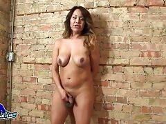 Sexy Samantha is a hot transwoman with a sexy curvy body, juicy ass, big boobs and a big hard cock! Watch this hot tgirl shaking her ass and stroking her hard dick!