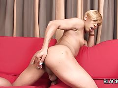 Deja is such a hottie! This pretty ebony tgirl got a smashing body, natural boobs and a big hard dick! She fucks her tight hole with her vibrator and then she jacks off and cums!