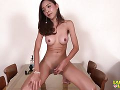 Wow, how sweet Tamako looks today! Her legs are as nice as always and she feels so happy sharing to us with the best view on these along with her big tits and uncut cock. Watch how naughty and playful she can be when her outfit come off and makes a mighty
