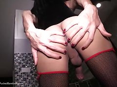 Om`s long legs glides into bed. Om`s dick is oiled and stroked and rubs with the POV`s in frottage. Om deep throats with ease with her vacuuming mouth provides endless pleasure. It`s time for sex and the tiny, elastic opening of Om`s backdoor starts to sp