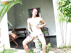 Ana Lucia Duarte is a pretty Brazilian tgirl with a sexy body, nice boobs and a perfect ass! Watch her stroking her cock and cumming for you again!